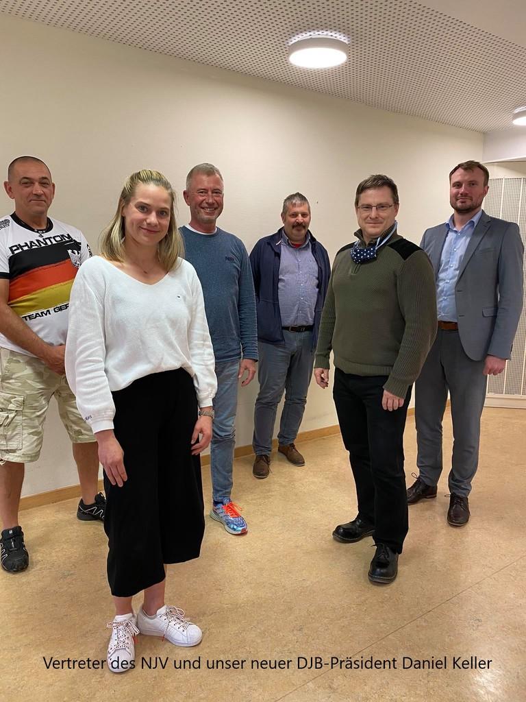 von rechts nach links: DJB-Präsident Daniel Keller, Jens Wendtland, Frank Walzer, Jens Ahrenhold, Janne Ahrenhold + Jörg Rafalski