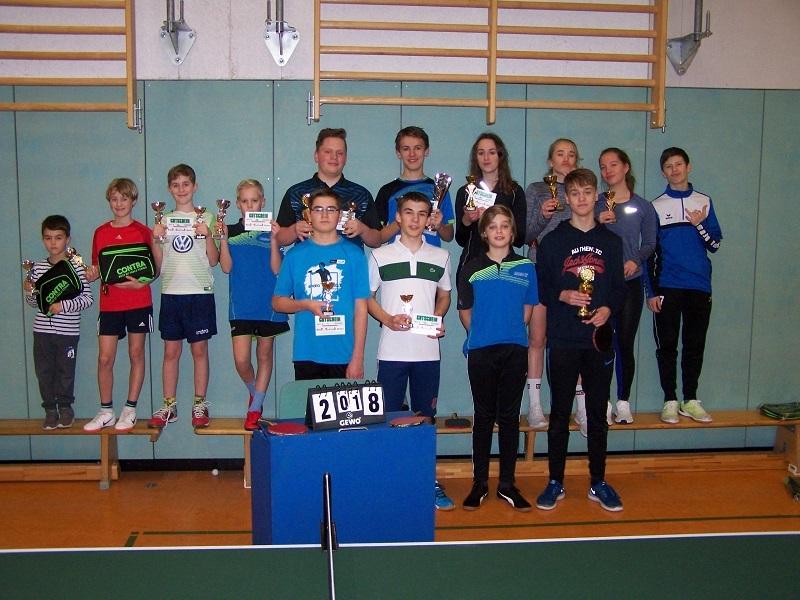 Sieger und Platzierte der 2018er Jugend-Vereinsmeisterschaften