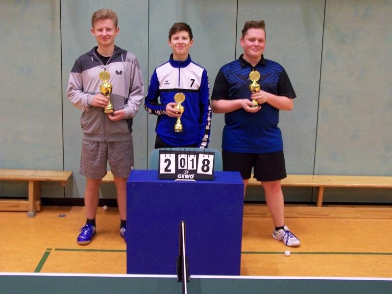 Jungen-Vereinsmeister 2018 (vl): Vincent Vogel 1.Platz, Julian Janke 2.Platz, Yorick Martens 3.Platz