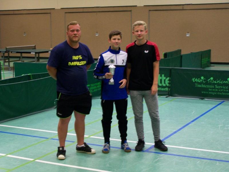 Herren-Mannschaft als Kreiscupsieger 2018 Matthias Wajan, Julian Janke und Vincent Vogel (von links nach rechts)