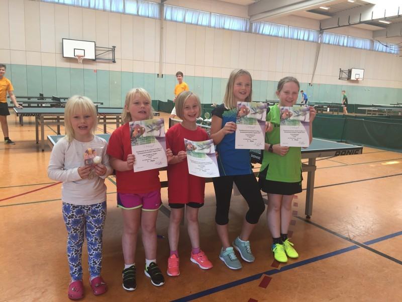 Jugend-Kreismeisterschaften 2016 C-Schülerinnen-Konkurrenz mit Vize-Kreismeisterin Louisa Pawlowitz (2. von rechts)
