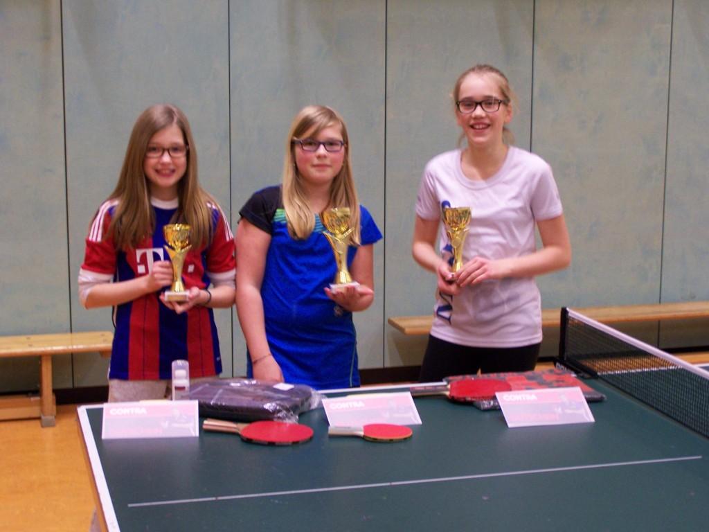 Mädchen-Vereinsmeister 2015: v.L. Louisa Sündermann (3.), Leonie Oldenburg (1.), Lena Menke De Alba (2.)