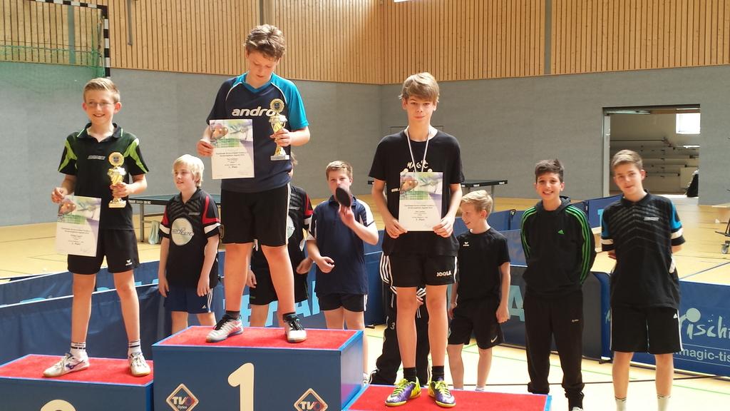 Siegerehrung der A-Schüler-Konkurrenz der Kreisrangliste 2014 mit Julian Wuckert (Bildmitte im Hintergrund), der den guten 6. Platz belegte